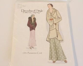 Decades of Style #3101 C 1931 Parisienne Coat, Decades of style pattern, 1930's coat pattern, 1930s reproduction coat pattern, coat