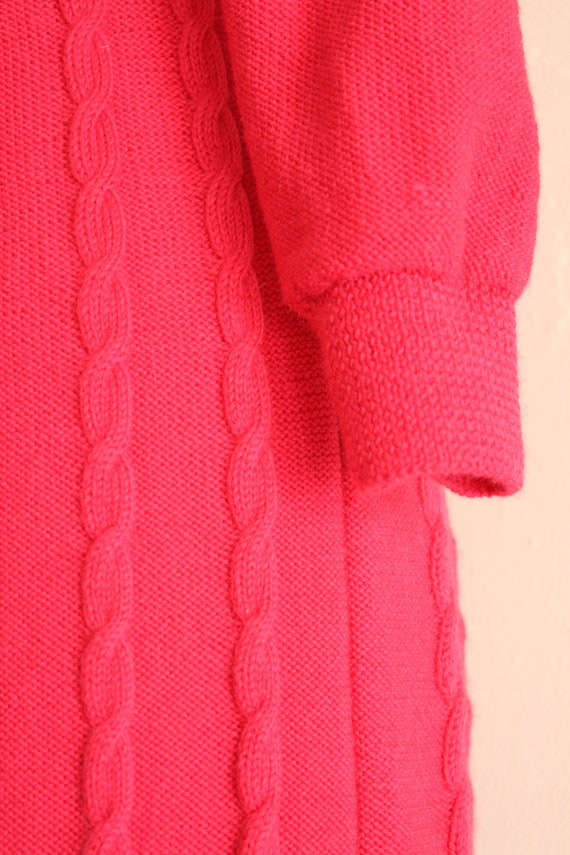 Vintage 60's Hand Knit Hot Pink Cable Knit Dress,… - image 7