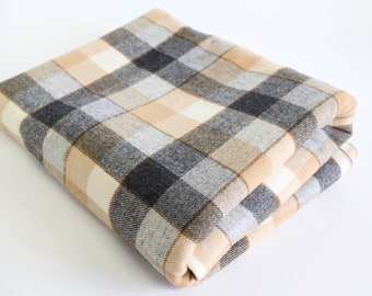 """Vintage Yarn Dyed Plaid Gray Tan and Cream Wool Fabric, Wool Flannel Y/D Plaid, Plaid fabric piece,  wool flannel check fabric, 58"""" x 60"""""""