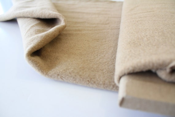 camel colored fabric yardage Heavy flannel fabric camel wool fabric yardage Winter wool fabric Camel colored wool fabric
