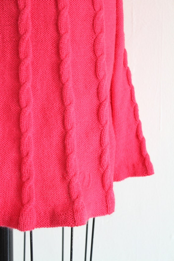 Vintage 60's Hand Knit Hot Pink Cable Knit Dress,… - image 6