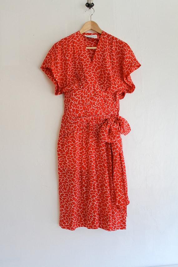 Vintage Silk Albert Nipon Dress, Size 2 Red Silk … - image 1