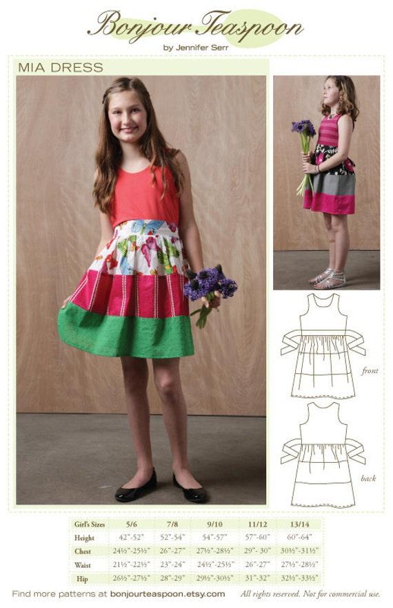 Girls Dress Sewing Pattern Tween Dress Sewing pattern Girls | Etsy