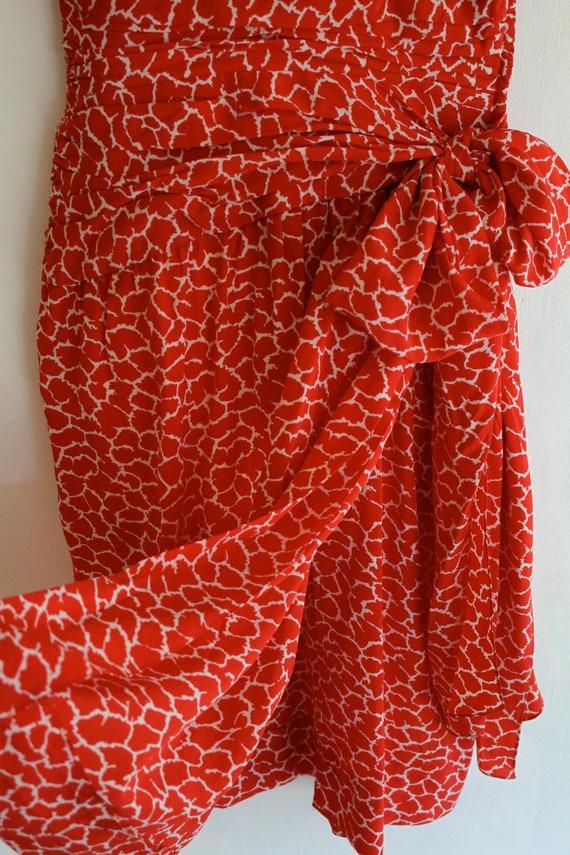 Vintage Silk Albert Nipon Dress, Size 2 Red Silk … - image 5