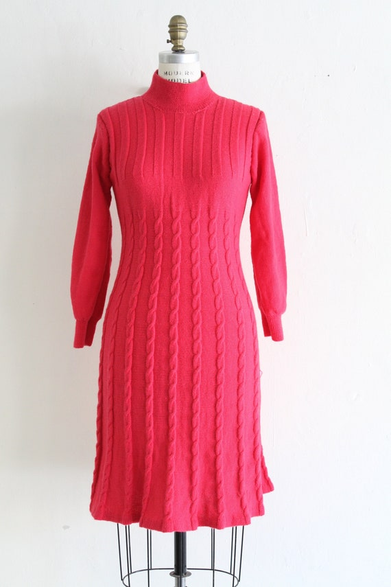 Vintage 60's Hand Knit Hot Pink Cable Knit Dress,… - image 1