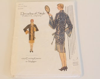 Decades of Style #2901C 1929 Evening Kimono or Negligee, Decades of Style Pattern, 1920s evening kimono pattern, 1920s reproduction pattern