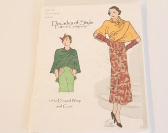 Decades of Style #3201 D 1932 Draped Wrap and Cape, Decades of Style Pattern, 1930s wrap and cape pattern, 1930s reproduction pattern