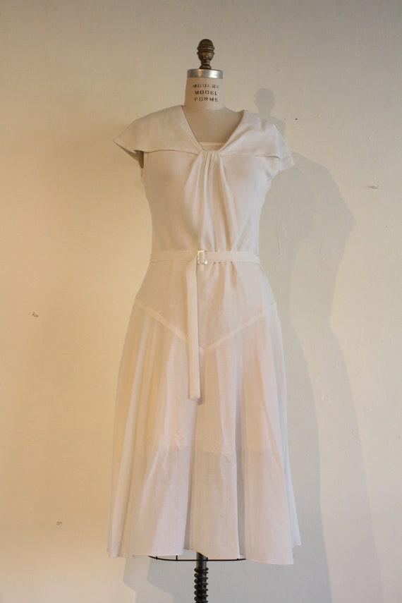 1930's White Linen Vintage Dress, Women's Dress, Vintage Dress, Vintage Dress with Slip, Flounced Sailor Collar Dress
