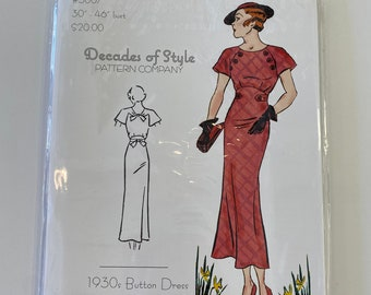 Decades of Style #3007 1930s Button Dress, Decades of style pattern, 1930s dress pattern, 1930s reproduction dress pattern, decades of style