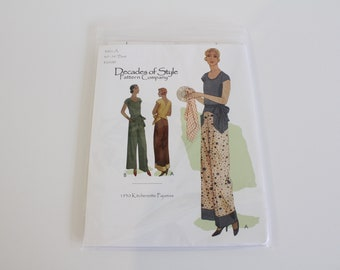 1930's #3001 Kitchenette Pajamas from Decades of Style, Decades of Style Kitchenette pajamas sewing pattern, 1930s kitchen pajamas pattern