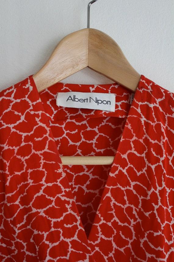 Vintage Silk Albert Nipon Dress, Size 2 Red Silk … - image 4