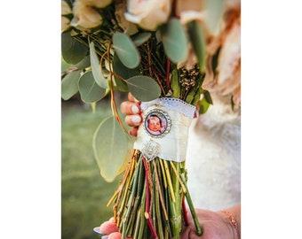 Custom Personalized Photo Bottle Cap Wedding Bouquet Charm for something treasured
