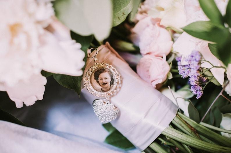 Custom Personalized Photo Double Sided Wedding Bouquet Charm for something treasured