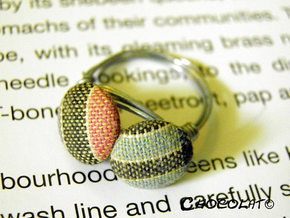 Highland Girl  wire wrapped fabric button ring made from two handmade fabric buttons - urban upcycled design from South Africa