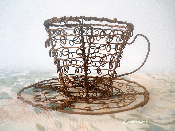 High Tea Wire Cup, made from recycled wire, urban design, beautiful as a sculpture or as a plant holder
