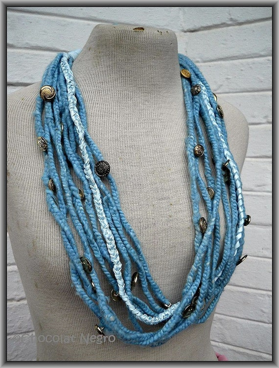 Ble Mariner Fibert Art Textile Necklace - couture piece from South Africa