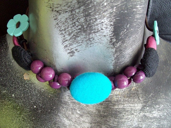 Handmade Fabric Button Girls Power Choker in purple, turquoise and black