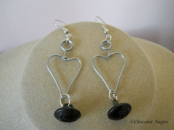 SPRINGBOK EARRINGS, wire heart and antique brass button dangle earrings, SOUTH AFRICA