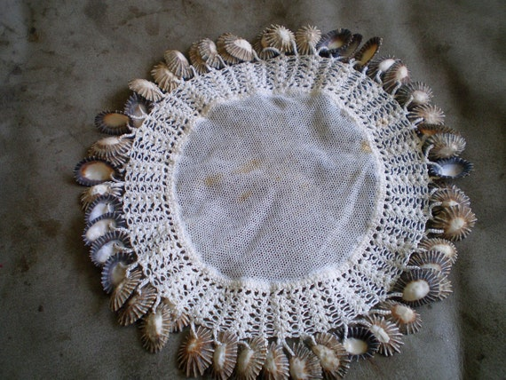 Beautiful Very Unique round 1930s Victorian Net Milk Jug Cover Doilie Hand Crocheted With Black and Grey Sea Shells