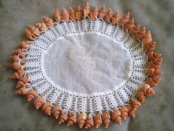 Beautiful Very Unique Oval 1930s Victorian Net Milk Jug Cover Doilie Hand Crocheted With Spiral Shells