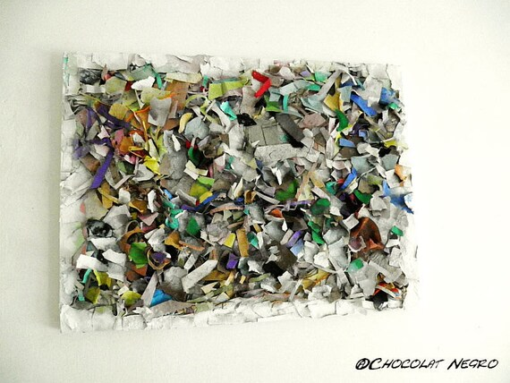 The Trash Is out  - Original Painting - Recycled Art - Mixed Media Art - South Africa 45 cm x 60 cm