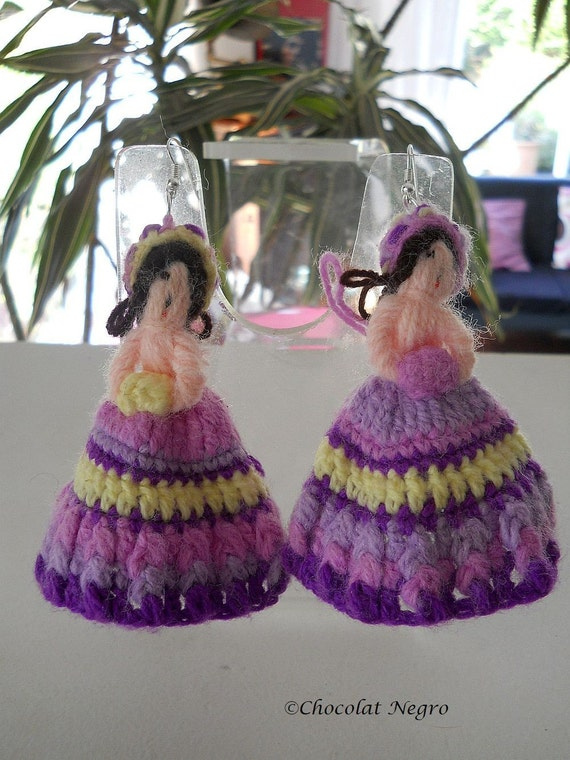 TWO MADEMOISELLES, hand - crocheted doll earrings, South Africa