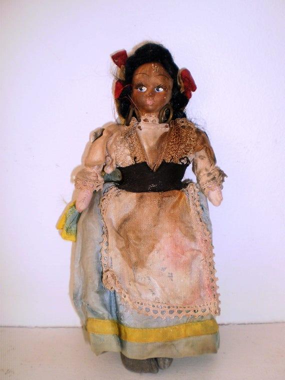 Antique Gypsy Woman Primitive Folk Art Paper Mache Rag Doll With Original Clothes