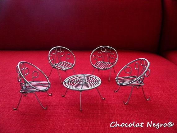 Handcrafted Modern  Mid Century Garden Table And Chairs-  Set - Miniature Wire Sculpture For Doll House Or Decoration