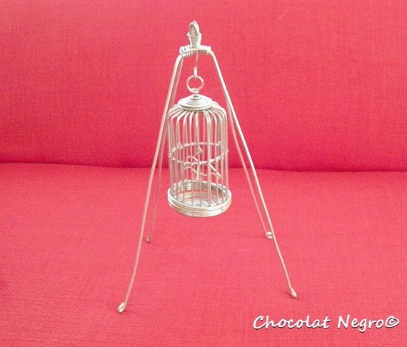 Handcrafted Miniature French Vintage Wire Bird Cage Sculpture With Stand - For Doll House Or Decoration
