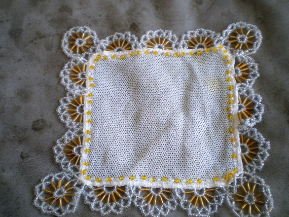 Victorian 1930s Square Beaded Net Milk Jug Cover Doilie With Beaded Flower Edge