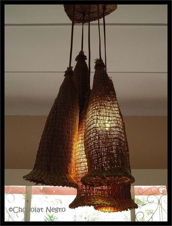 The firefly chandelier amde of handwoven traditional african beer strainers South Africa