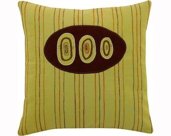 "Three Eye ""Stripes"" Green Brown and Orange Modern Decorative Pillow 12 x 12 inches"