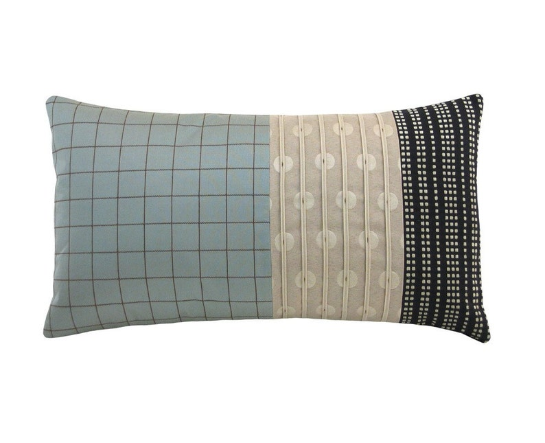 Aqua Alchemy 'Panes' Modern Decorative Pillow 12 x 22 image 0