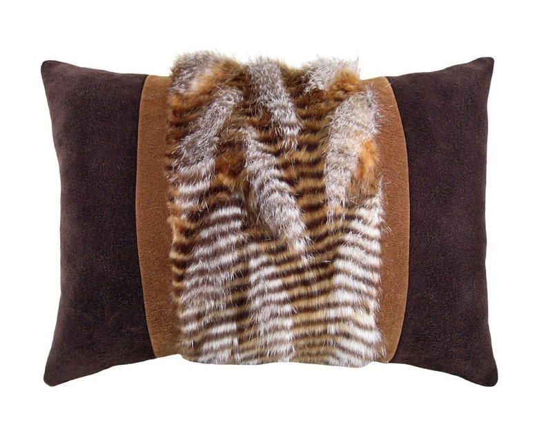 Rustic Faux Fur and Micro-suede Decorative Pillow 12 x 17 image 0