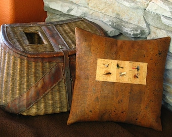 Flyfishing Rustic Decorative Pillow for the Avid Fisherman 12 x 12 inches