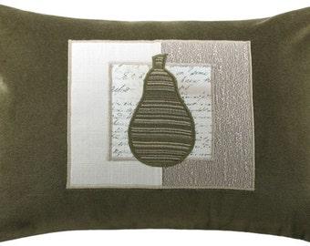 Mod Framed Pear Decorative Throw Pillow Boudoir Size 12 x 18 inches