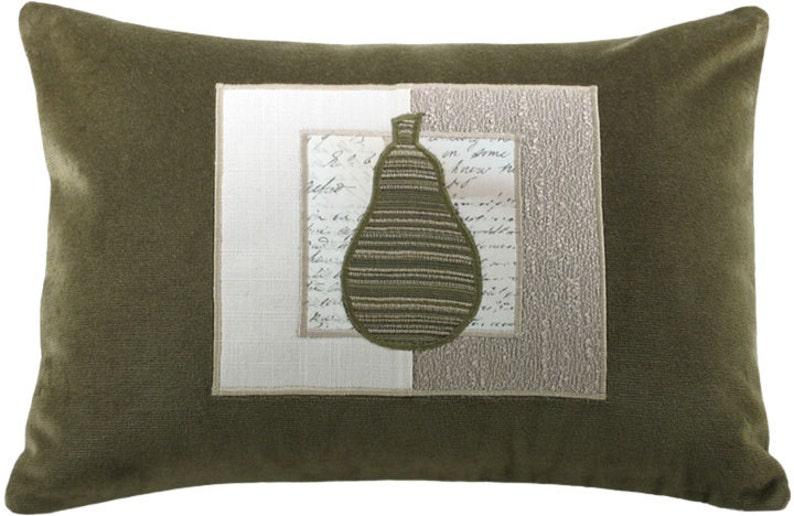 Mod Framed Pear Decorative Throw Pillow Boudoir Size 12 x 18 image 0