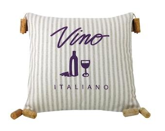 Vino Italiano Striped Wine Themed Decorative Pillow 16 x 16 inches