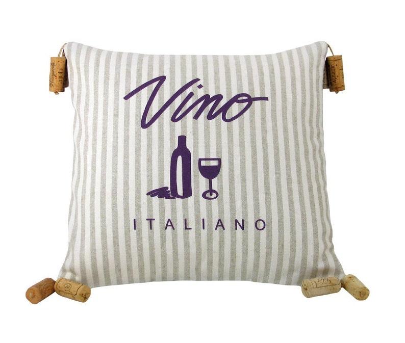 Vino Italiano Striped Wine Themed Decorative Pillow 16 x 16 image 0