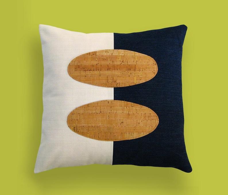 Indigo Denim and Cork Modern Decorative Pillow 12 x 12 inches image 0
