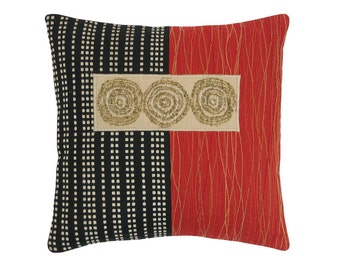 """Red Alchemy """"3 Circles"""" Modern Decorative Pillow 12 x 12 inches"""