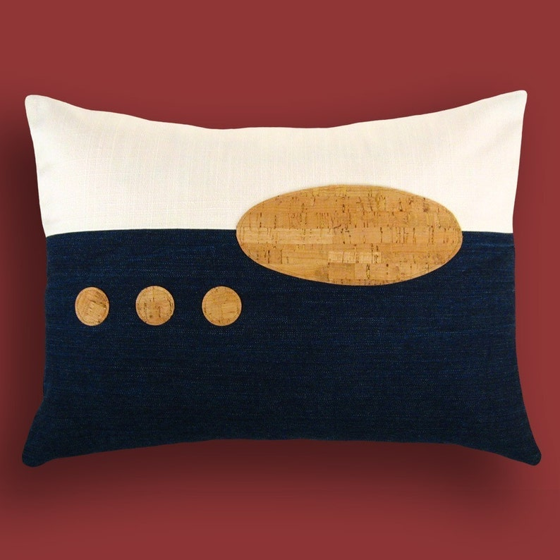 Indigo Denim and Cork Modern Decorative Pillow 12 x 18 inches image 0