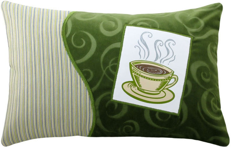 Coffee Cup Short Decorative Breakfast Size Pillow image 0