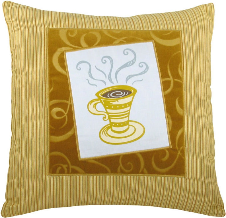 Tall Coffee Cup Framed Decorative Pillow 17 x 17 image 0