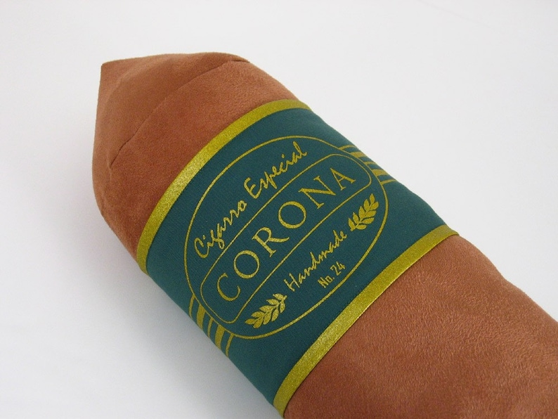 Light Corona Cigar Pillow with Emerald Green and Gold Band 8 x image 0