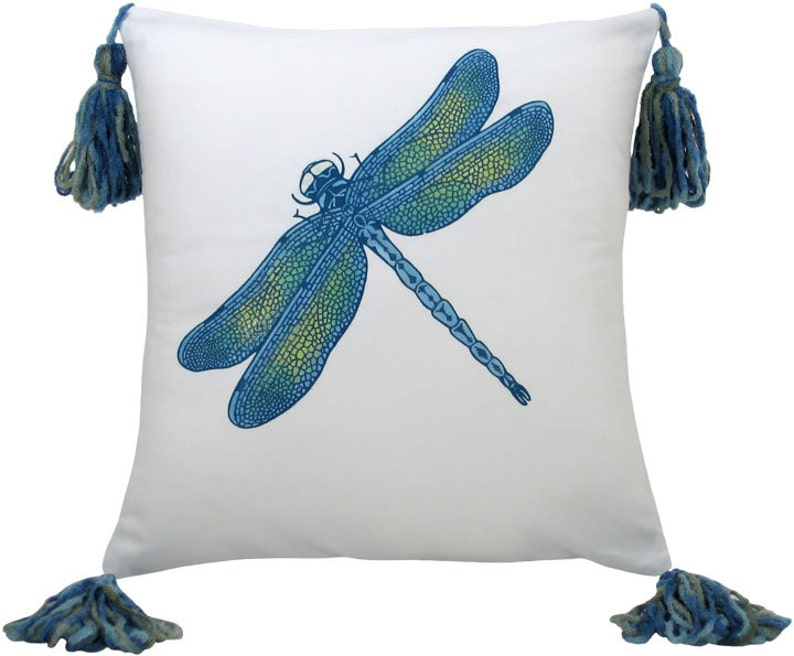 Dragonfly Blue Small Size Decorative Pillow with Tassels 13 x image 0