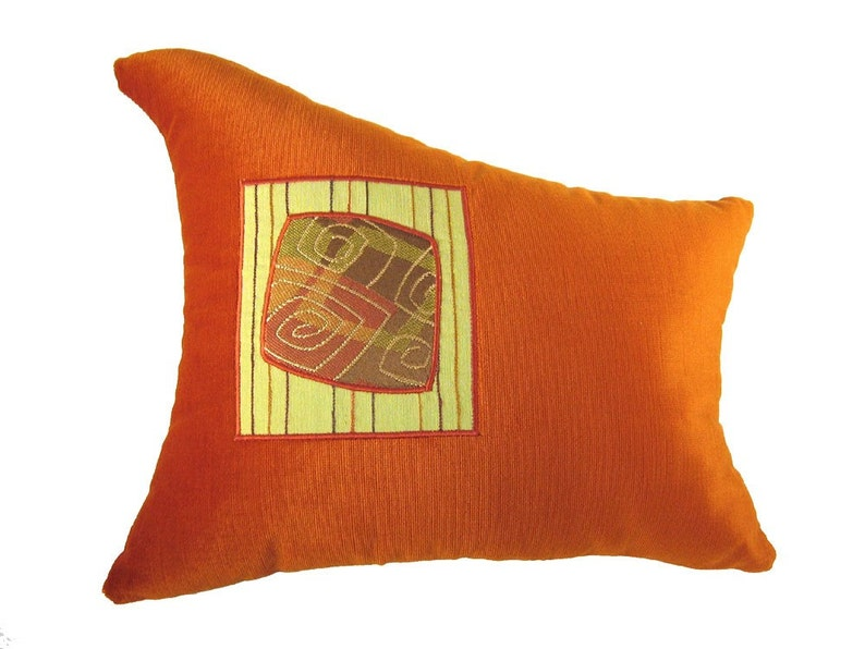 Orange Wave Shaped Funky Modern Decorative Pillow 14 x 16 image 0