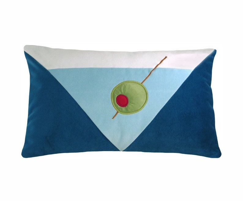 Mod Blue Martini Modern Decorative Pillow 12 x 20 inches image 0
