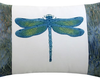 Dragonfly Blue Boudoir Size Decorative Pillow 12 x 17 inches