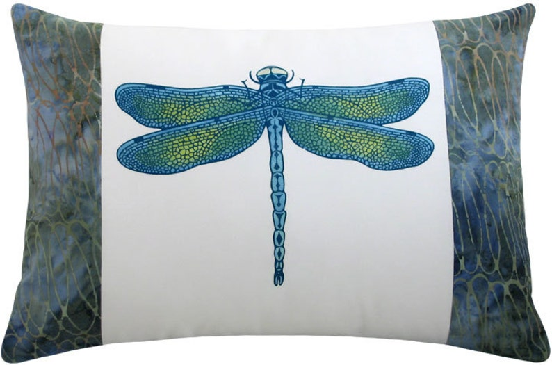 Dragonfly Blue Boudoir Size Decorative Pillow 12 x 17 inches image 0